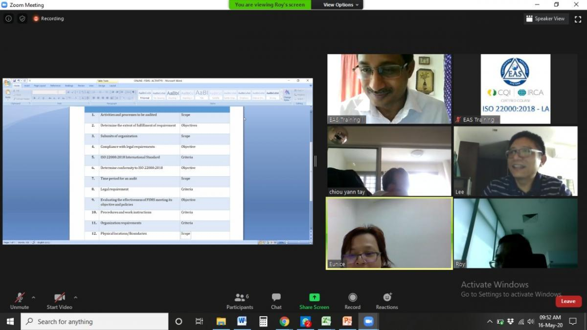 Virtual Online ISO 22000 Lead Auditor Training